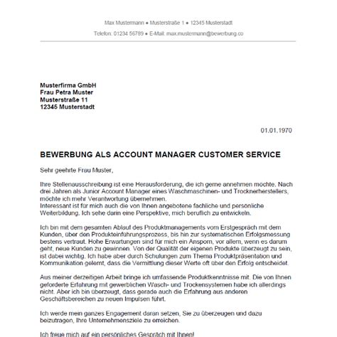 Bewerbung als Account Manager / Account Managerin