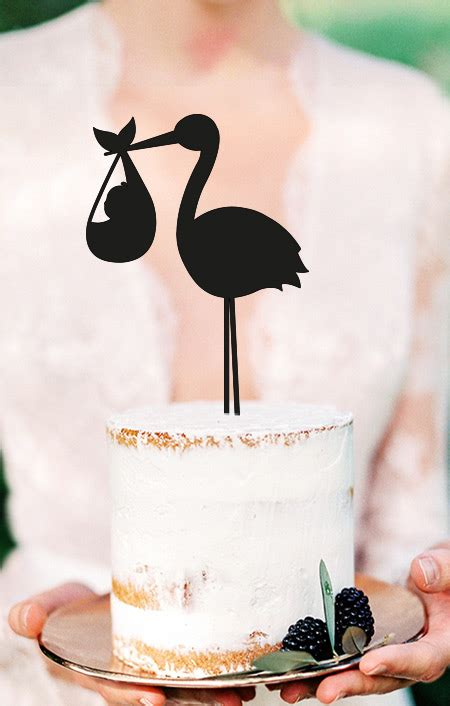 Cake Topper STORCH (Taufe) - Gold Marie