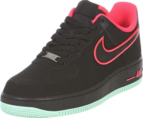 Nike Air Force 1 shoes black neon red
