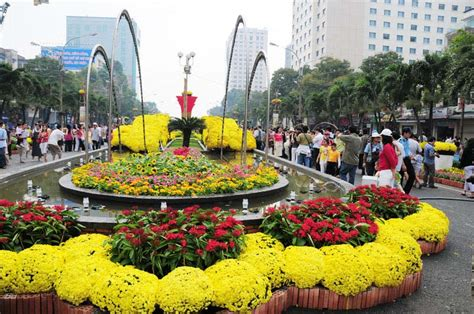 Flowers displayed during Tết festival in Saigon