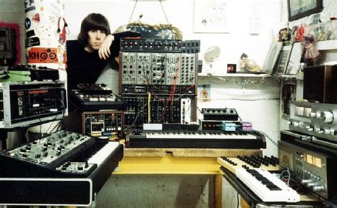 Industrial music pioneer Chris Carter with gear, 1980