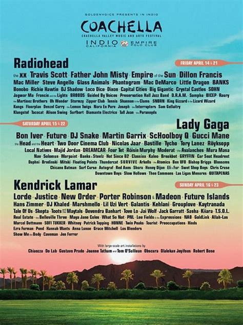 What is the Coachella 2017 line-up? Weekend 2 set times