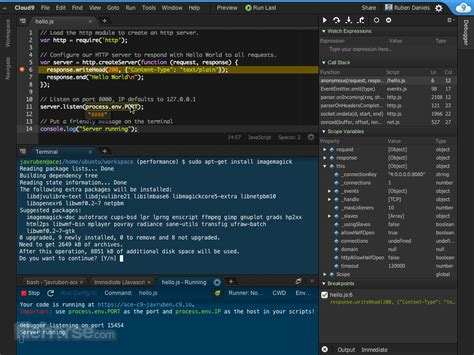 Cloud9 - Write, run and debug your code with powerful