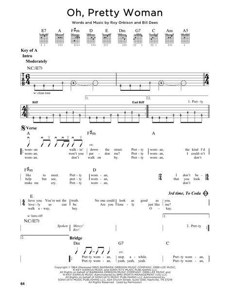 Oh, Pretty Woman Sheet Music | Roy Orbison | Guitar Lead Sheet