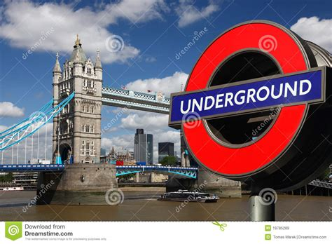 Tower Bridge With Underground Symbol, London Editorial