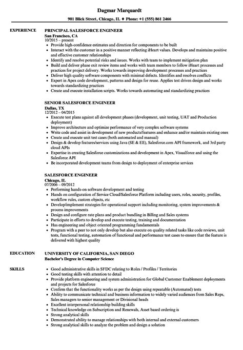 Salesforce Engineer Resume Samples | Velvet Jobs