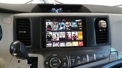 Custom in-car entertainment center includes iPads and Apple TV