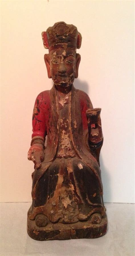 Antique Chinese Qing Dynasty Wooden Statue | eBay