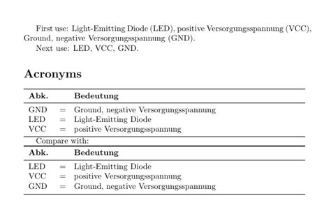 How to print acronyms of glossaries into a table? - TeX